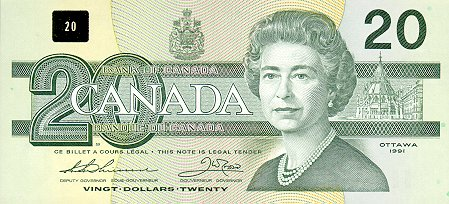 20 Canadian Dollar Note