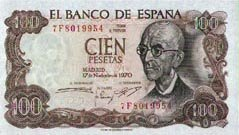 1000 Spanish Pesetas Note 100