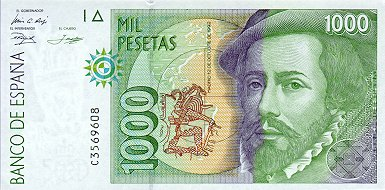1000 Spanish Pesetas Note